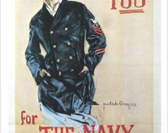 """Vintage """"I Want You For The Navy"""" WW2 Recruiting Poster Woman In Pea Coat 24x36"""