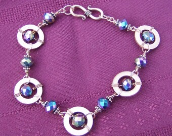 Wire Wrapped Bracelet - Exquisite Iridescent Peacock Faceted Beads in Copper Links by JewelryArtistry - BR597