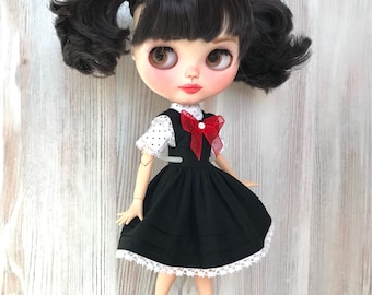 Blythe pinafore dress, doll clothes, doll outfit, 30 cm dolls clothes, 12 inch doll dress, Pullip dress, doll black dress, blythe clothing