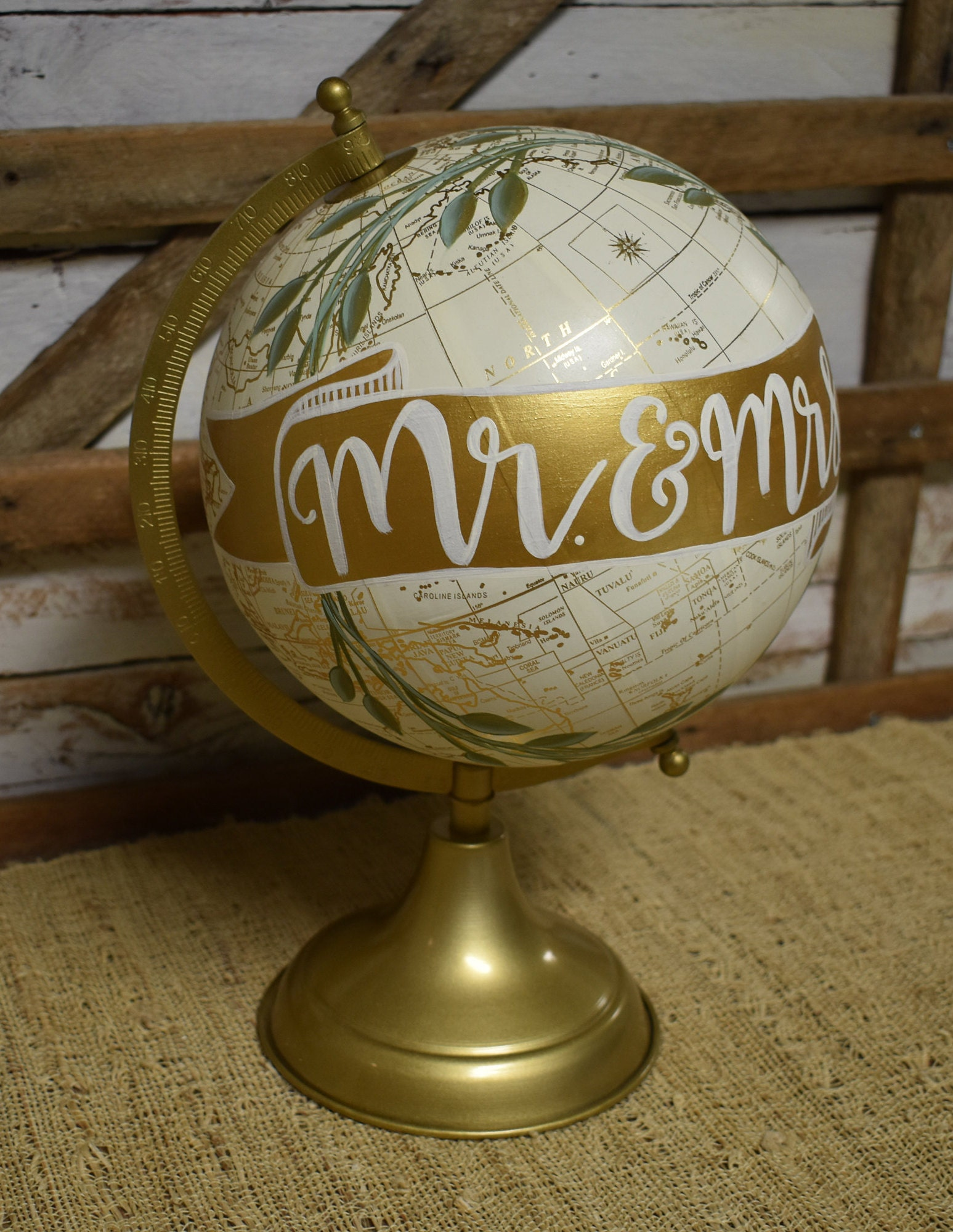 World Globe | Mr And Mrs | Wedding Decor | Wedding Gift | Home Decor | Hand  Painted