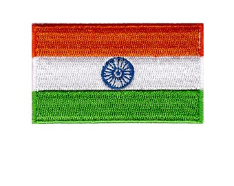 Flag of India Iron On Patch 2.5 x 1.5 inch Free Shipping (Small)