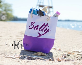 Salty, Mermaid,  Canvas tote bag, Beach bag.