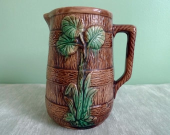 Vintage Majolica Glazed Pottery Tropical Palm Leaf Pitcher Vase Green and Brown