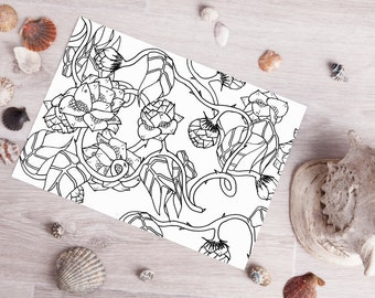 coloring pages for adults instant download digital stamp printable animal coloring page nautical coloring page fish leaf fantasy