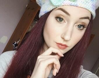 Lacy crochet beret