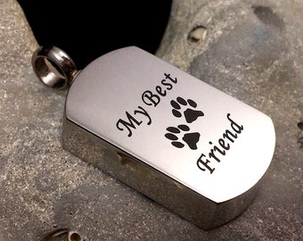 Mens Paw Print Pet Cremation Urn PENDANT OR NECKLACE Ash Jewelry for Ashes My Best Friend Cat Dog Holds Cremains Memorial Gift Loss Loved