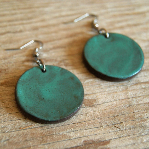 LARGE glossy turquoise round stoneware drop earrings