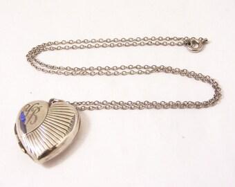 Vintage Silver Heart Locket, Engraved Silver Locket, Geometric Locket, Heart Locket, Photo Locket, YB Initials