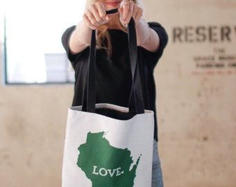 Wisconsin Pride Canvas Tote Bag // Mom Gift // Home State Love // white tote with black cotton inside and handle // Housewarming Gift Idea