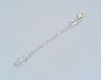 3 Inch Crystal Necklace Extender-Sterling Silver