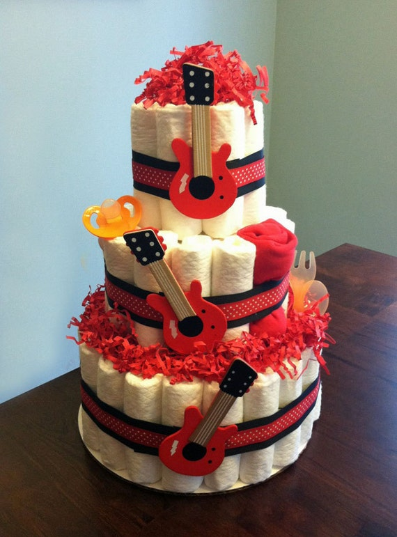Rock Star Guitar Diaper Cake Three Tier Baby Shower Gift Or