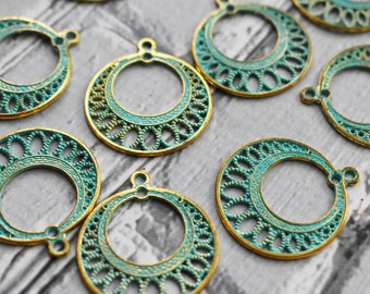 Brass Verdigris Chandelier Charm-  Boho Verdigris Connector- Hoop Charm Earring Supply- Tribal Blue Green Patina Charm- set of 10