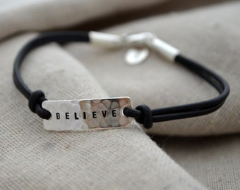 Sterling Believe Bracelet - Hammered Finish - Custom - Personalized