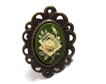 Rose Cameo Ring-Lovely Ring-Floral Ring-Flower Ring-Green Ring-Cameo Jewelry-Vintage Style-Simple Jewellery-Girl Gift-Adjustable Ring-Cute