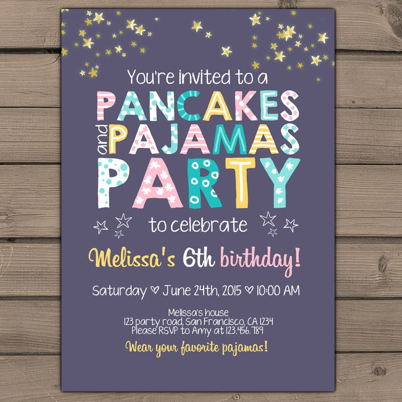 Pancakes and pajamas party invitation pancakes pajamas zoom filmwisefo