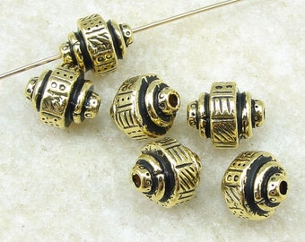 Antique Gold Beads TierraCast Ethnic Barrel Beads Gold Jewelry Beads - 9mm x 7mm - 6 or more pieces - (P2471)