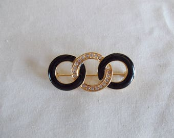 Vintage Small Monet Black And Gold Tone Circle Brooch //3