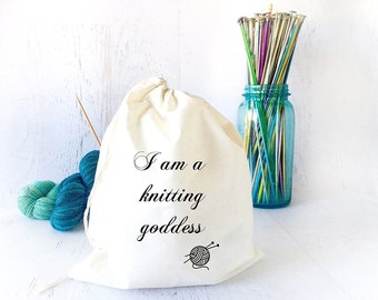 Portable Knitting Bag- Project Bag- Yarn Bag- Knitting Tote- Tote Bag- Drawstring Bag- Sock Knitting Bag- Yarn Storage- Knitting Meme