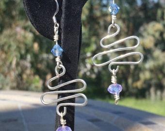Zig Zag Wire Long Dangle Earrings