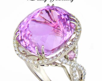 Pierian spring. 24.92 ct. Pink Kunzite, Sapphire And Diamonds Gold Ring. Free resize.