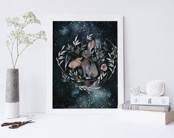 Night Bunny Nursery or Bedroom Wall Art Print // Rabbit Art Print // Ready to Ship poster // A4 or 8x10""