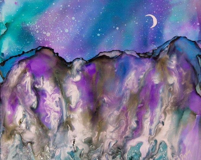Night Sky Painting-Celestial Decor-Purple Wall Art-Original Art-Mountain Art-Bohemian Decor-Wall Art-Home Decor Gifts-Watercolor Home Decor