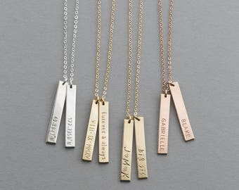 Personalized Vertical Name Bar Necklace • Custom Rose Gold, Silver, Gold Bar Necklace • Engraved Tag Necklace • layeredandlong, LN140_25_V