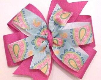 Paisley Print Hair Bow , Pinwheel Hair Bow , Double Pinwheel Bow
