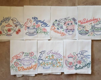 Tea Time Days of the Week Embroidered Flour Sack Dish Towels