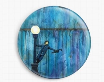 Needle Minder - Licensed Art By Robert Bretz- Singing In The Rain Cross Stitch Keeper - Fridge Magnet