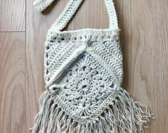 White Crochet Crossbody Boho Bag/Purse with Fringe