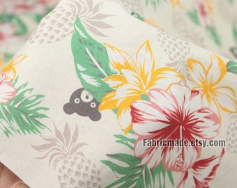 Cartoon Bear Pineapple Flower Cotton Fabric, Cream Cotton With Flower Leaves - 1/2 yard