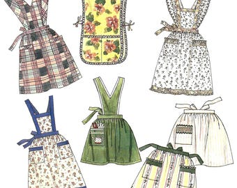 McCalls Crafts 5565 Sewing Pattern for Misses Apron Package Bib or Skirt Eyelet Trim Pockets Seven Styles One Size Uncut