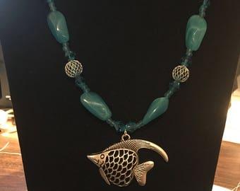 Aqua blue beaded necklace