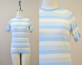 1960s Pale Blue and Cream Striped Sweater