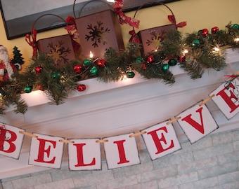 Believe banner , CHRISTMAS Decorations , Vintage Inspired Christmas banner , Christmas Banner, Holiday Garland Photo Prop