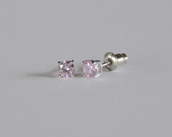 Sparkling Sterling Silver Little Girls Stud...Girls CZ Stud Earring...Girls Stud Earring...October Birthstone..Free Shipping!!
