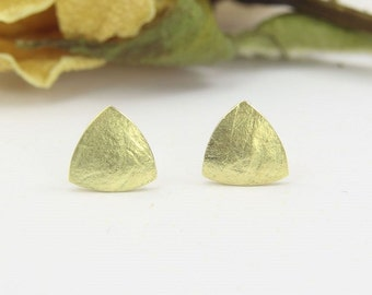 Earrings gold 585 /-, mini triangle of paper structure, handmade