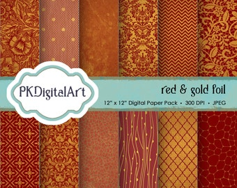"Red Gold Foil Digital Paper - ""Red & Gold Foil""  Scrapbook Paper Background Crafting Supplies"