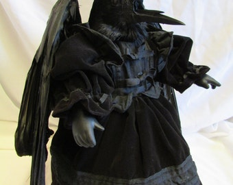 Crow doll   Gothic horror story taxidermy. Free shipping