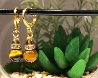 Golden tigers eye earrings