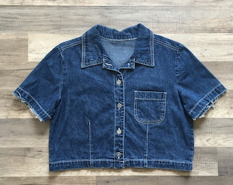 Collared Denim Crop with Frayed Sleeves