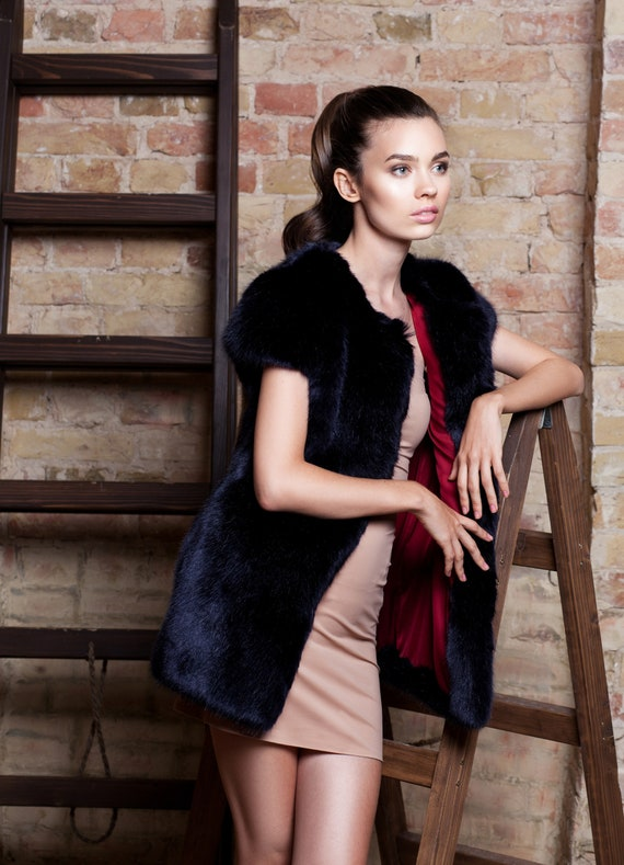 Women sapphire Faux vest France vests Exclusive fur vest fur fur sable Vest fur faux vest Fake Luxury fur with Tissavel by applique qfXOEw