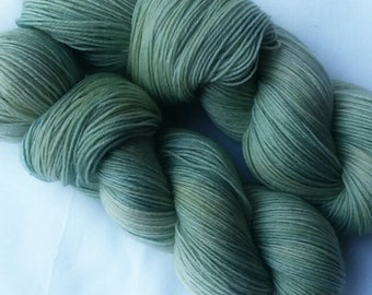 Hand dyed yarn, Succulent, 75/25 super wash merino wool/nylon sock yarn, tonal yarn, green yarn, sage green yarn,
