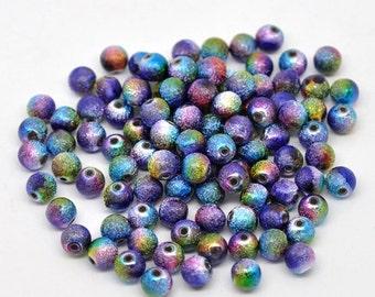 100 Rainbow Stardust Acrylic Beads 8mm.  Ideal for jewellery, decoration,