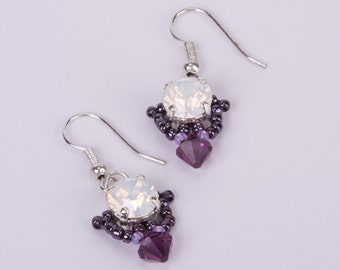 Sterling Silver Beaded Earrings with Swarovski Crystals in White Opal and Amethyst Purple. Dangling Triangle Shaped Crystal Earrings S215