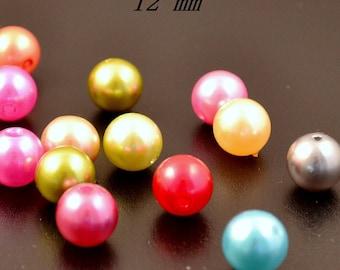 50 glass Pearl, pearls col: multicolored, 12 mm
