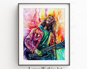 Fallen Star - Chris Cornell colorful watercolor painting - Fine art print - Colorful - Contemporary art  - Audioslave - Soundgarden - Grunge