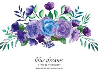 Watercolor Blue Purple Roses Flower Clipart One Arrangement Hand Painted Flowers Wedding Diy Clip Art PNG