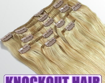 """Clip In Human Hair Extensions 18"""" - 120 Grams Full Head Remy Premium Grade AAAAA Double Wefted (Medium Golden Blonde/Ash Blonde P#20/24)"""